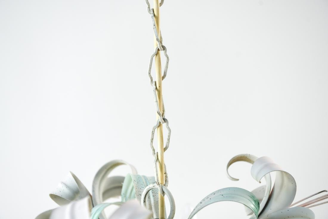 ITALIAN TOLE PAINTED LILY FLOWER CHANDELIER - 8