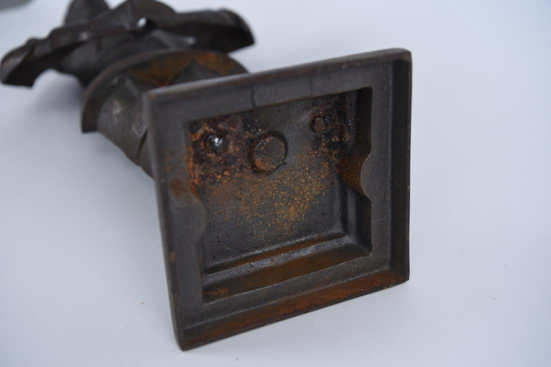 EARLY 20TH C. CAST IRON KNIGHT FIRE TOOL HOLDER - 10