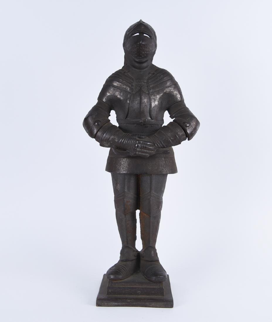 EARLY 20TH C. CAST IRON KNIGHT FIRE TOOL HOLDER
