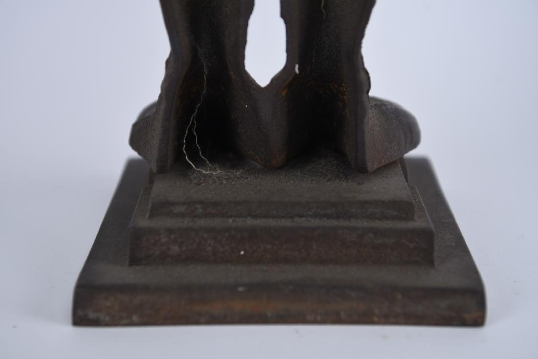 EARLY 20TH C. CAST IRON KNIGHT FIRE TOOL HOLDER - 8