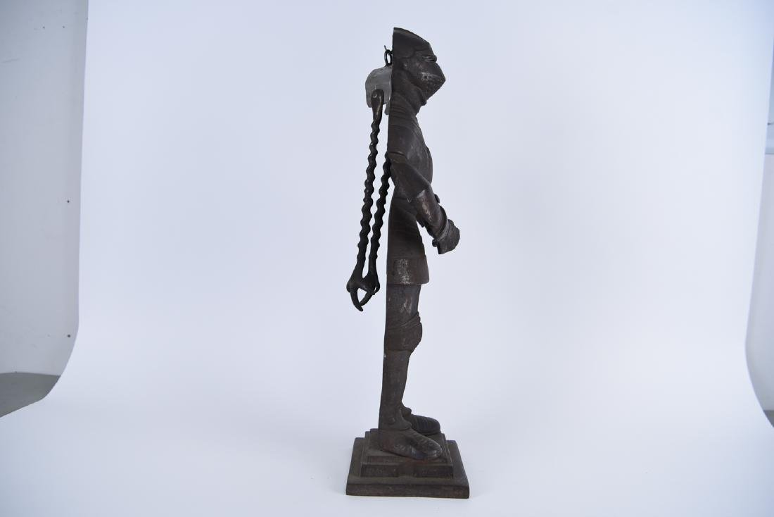 EARLY 20TH C. CAST IRON KNIGHT FIRE TOOL HOLDER - 9