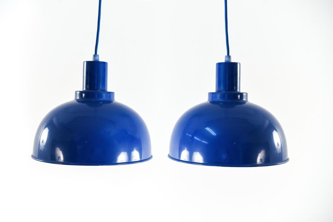 PAIR OF DANISH BLUE MID-CENTURY PENDANT LIGHTS