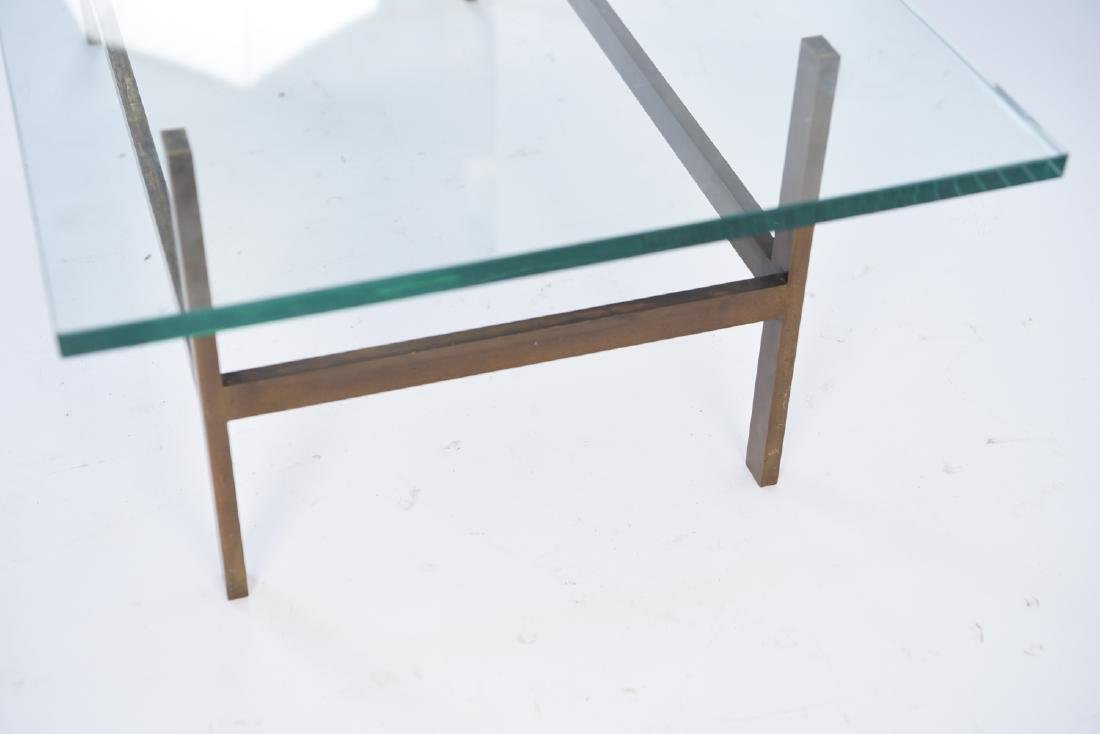 MID-CENTURY BRASS AND GLASS COFFEE TABLE - 7
