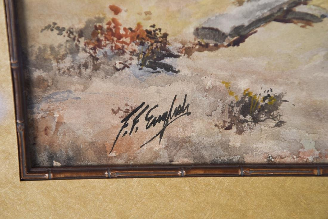 FRANK ENGLISH (1854 - 1922) LOGGING WATERCOLOR - 2
