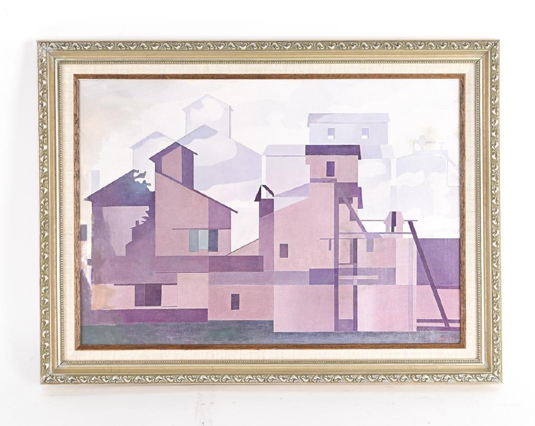 AFTER SHEELER OIL ON PAPER ON CANVAS