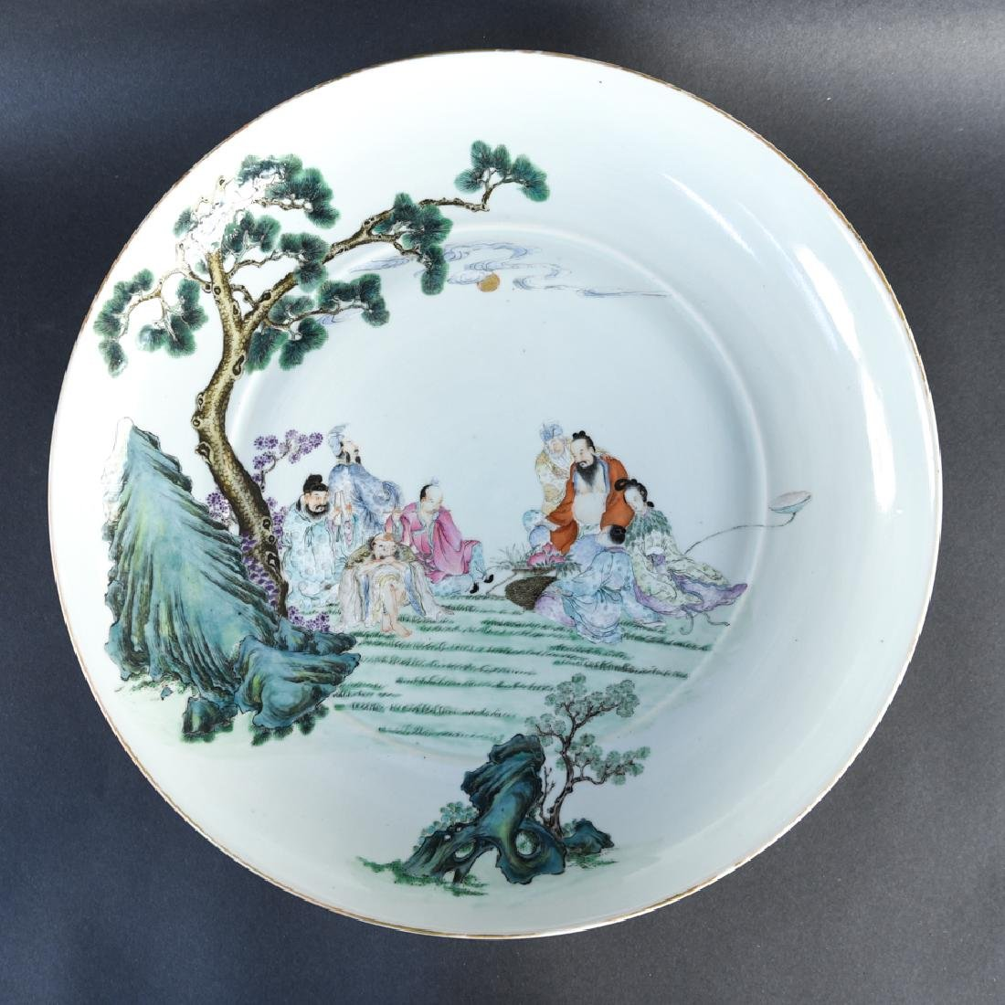LARGE FAMILLE VERT DECORATED CHARGER