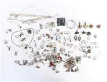 LARGE GROUPING OF STERLING SILVER JEWELRY