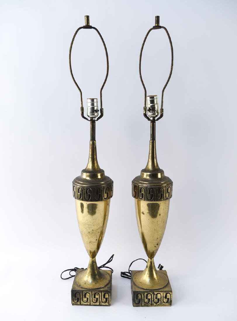 MID-CENTURY BRASS URN FORM LAMPS