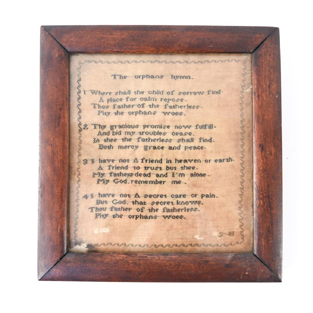 """ANTIQUE """"THE ORPHANS HYMN"""" EMBROIDERY"""