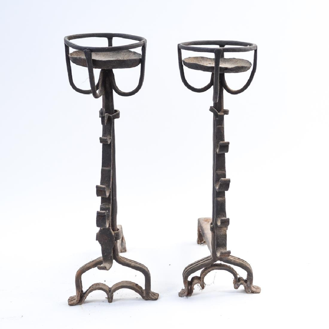 PAIR OF WROUGHT IRON CANDLE STAND ANDIRONS