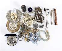 GROUPING OF ANTIQUE COSTUME JEWELRY ETC.