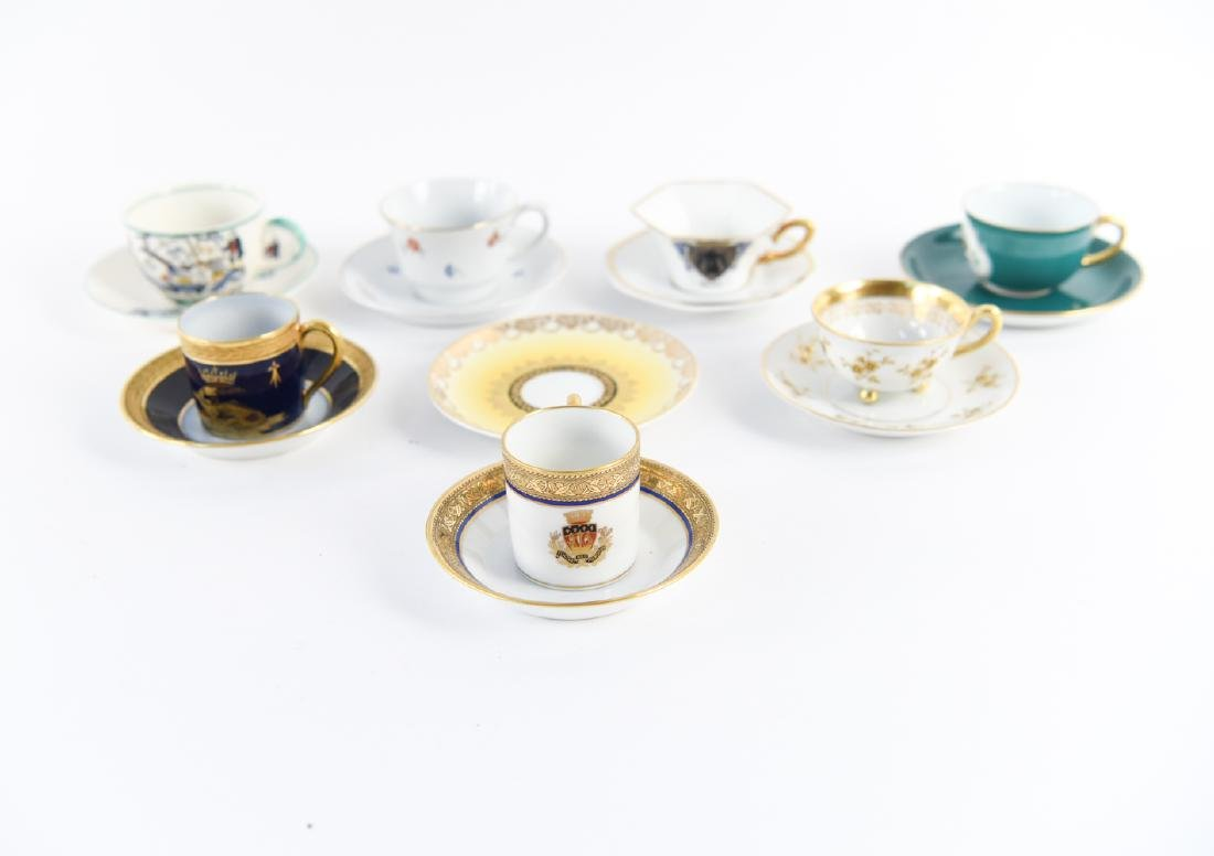 GROUPING OF DEMI-TASSE CUPS & SAUCERS