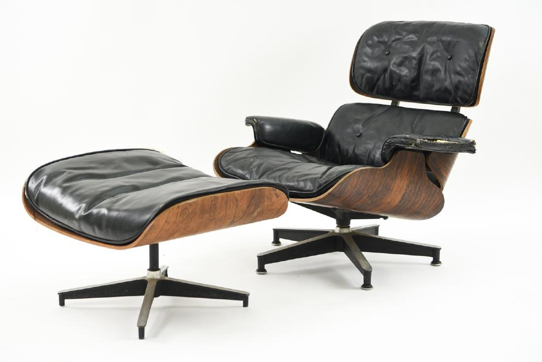 1950S HERMAN MILLER EAMES CHAIR AND OTTOMAN