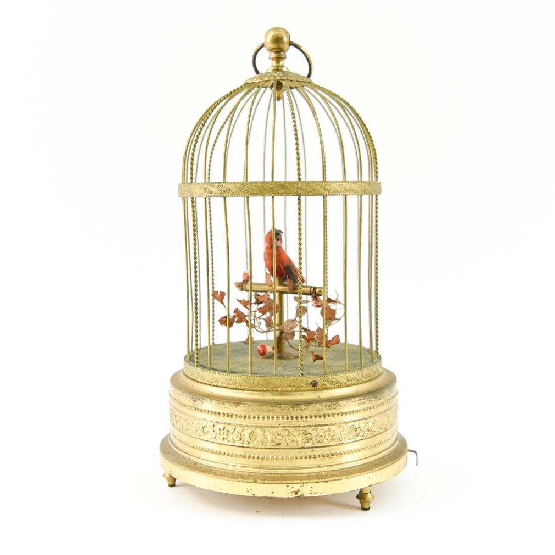 EARLY 20TH C. AUTOMATON MUSICAL BIRD IN CAGE