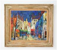 MIDCENTURY ABSTRACT OIL ON CANVAS PARIS SIGNED
