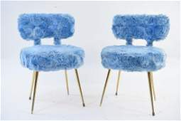 PAIR OF FUZZY BLUE SIDE CHAIRS BRASS LEGS
