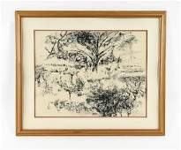 20TH CENTURY INK DRAWING LANDSCAPE