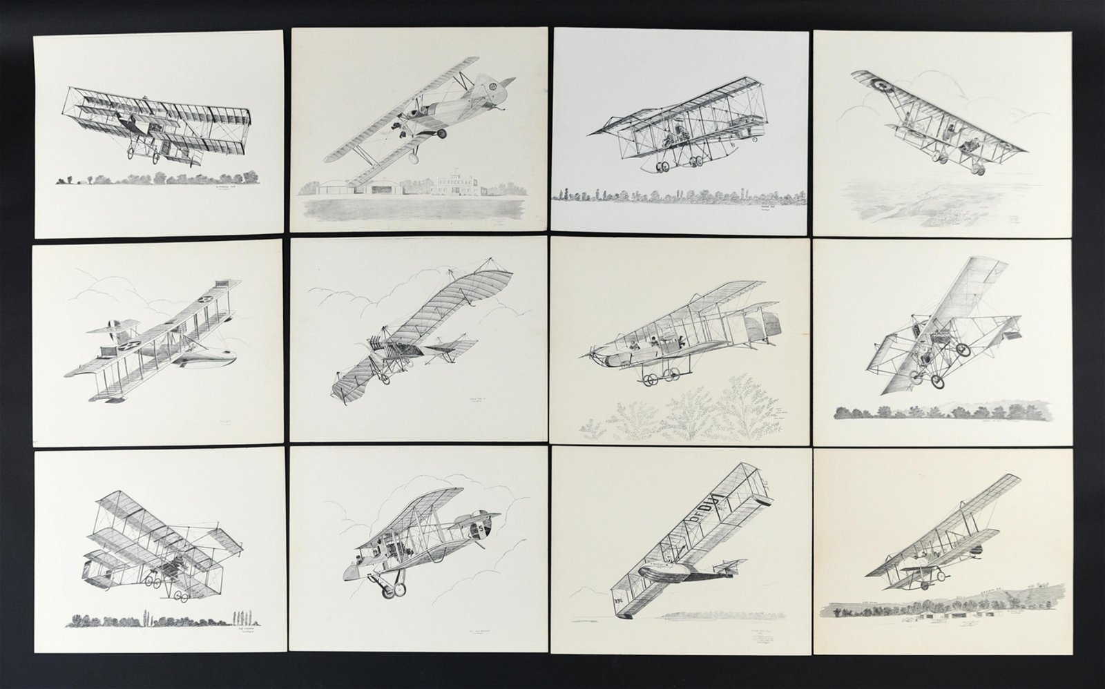 (12) JULES WAGNER LITHOGRAPHS OF EARLY BIPLANES