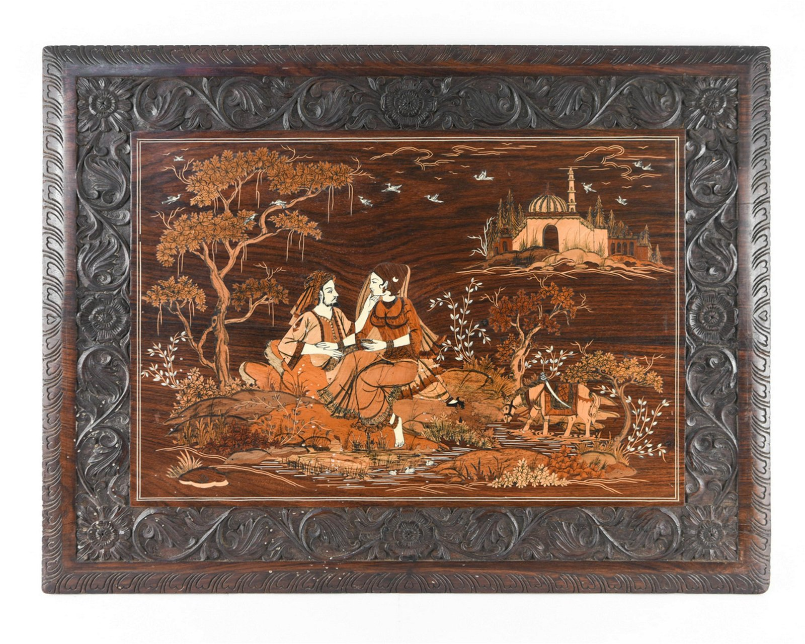 INDO-PERSIAN INLAID & CARVED WOOD PANEL