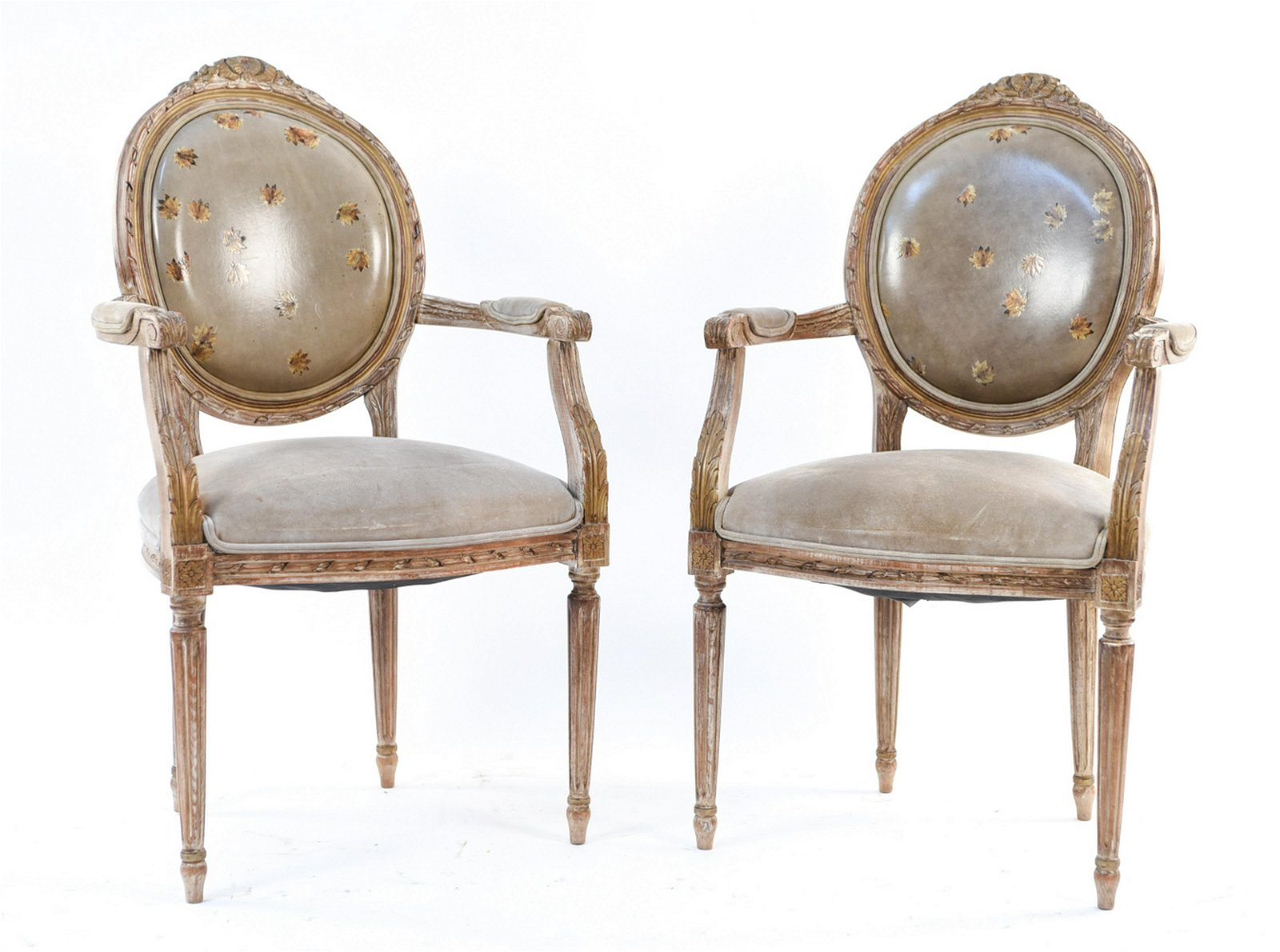 PAIR OF LOUIS XVI STYLE FAUTEUIL ARMCHAIRS