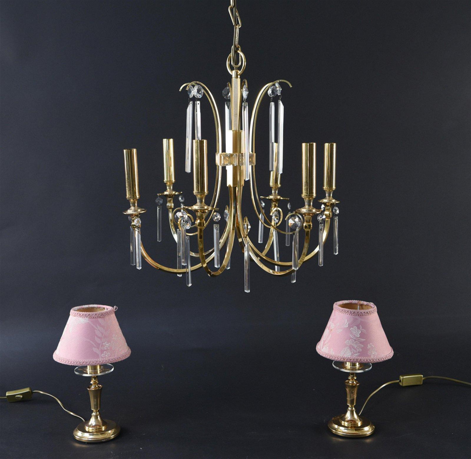 SCIOLARI CHANDELIER & PAIR OF TABLE LAMPS