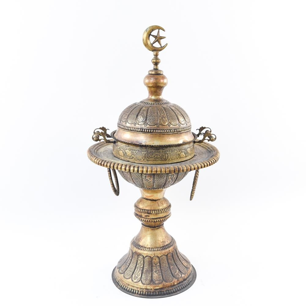 MONUMENTAL ANTIQUE TURKISH BRASS BRAZIER