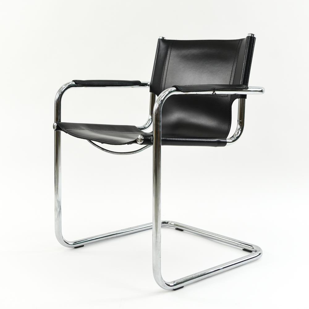 LEATHER & CHROME SLING CHAIR