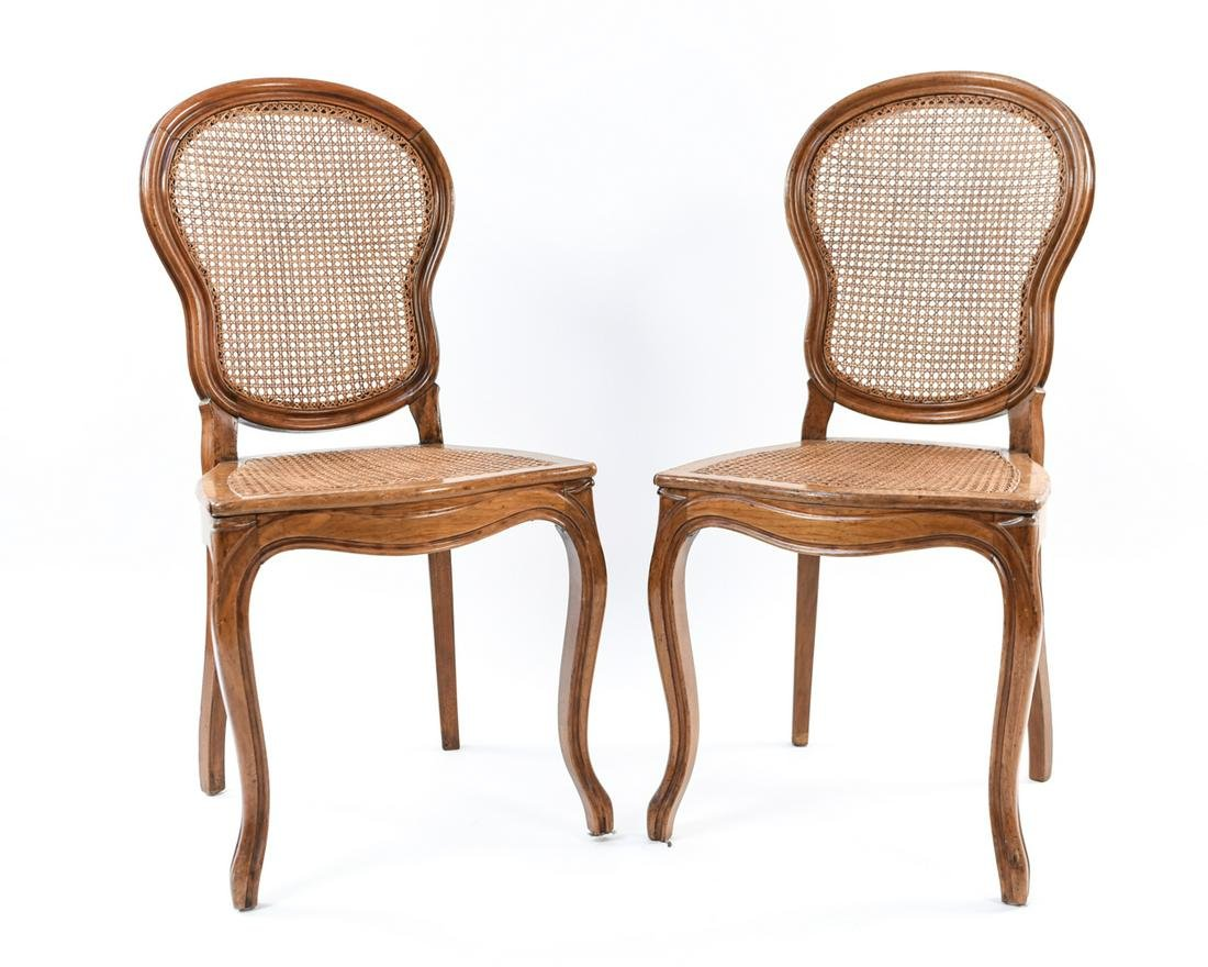 PAIR OF BALLOON BACK CANED SIDE CHAIRS