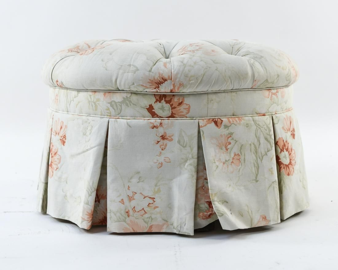 ROUND BUTTON TUFTED & SKIRTED OTTOMAN