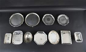 GROUPING OF SILVER PLATE TRAYS