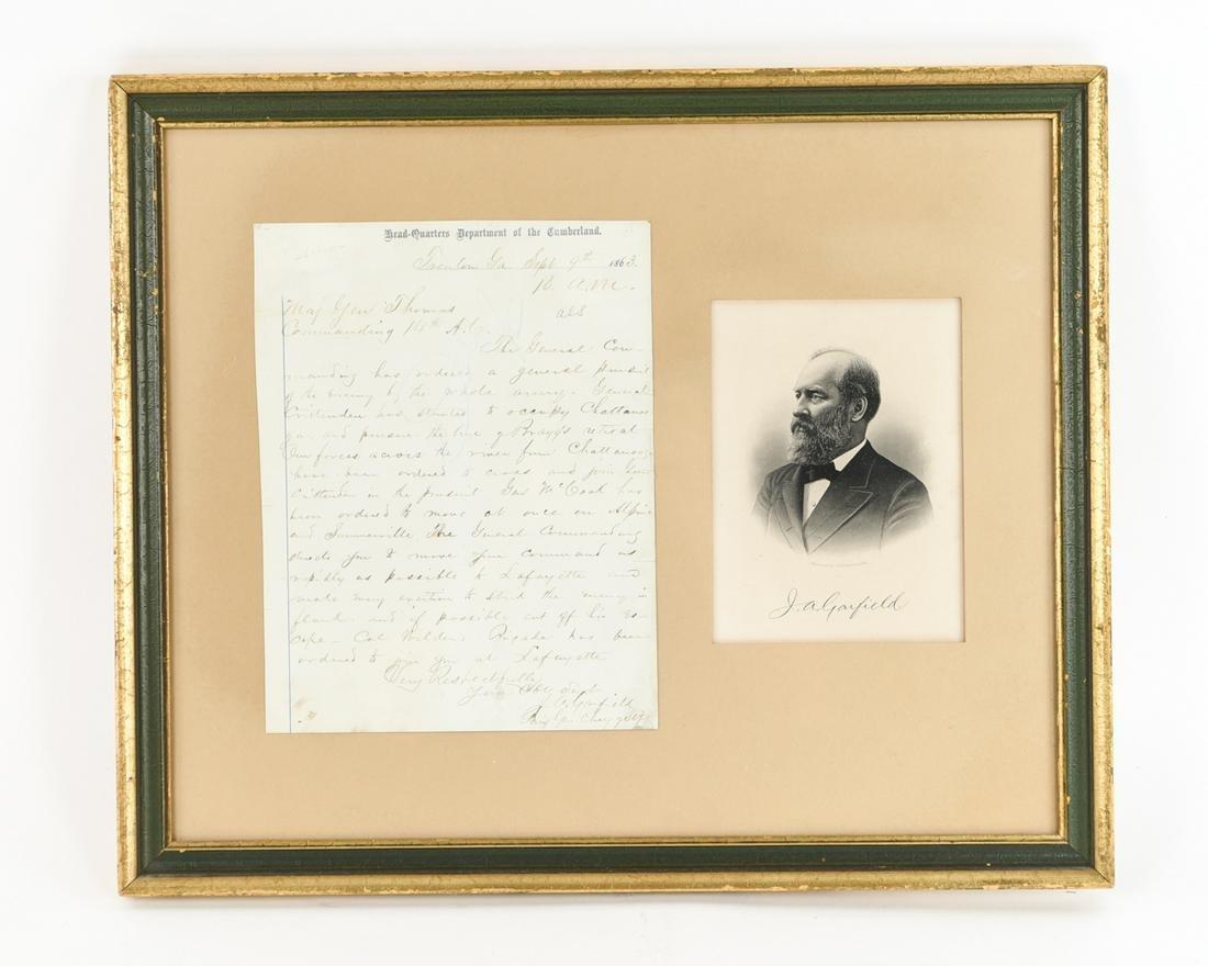 RARE IMPORTANT JAMES GARFIELD CIVIL WAR ORDER 1863