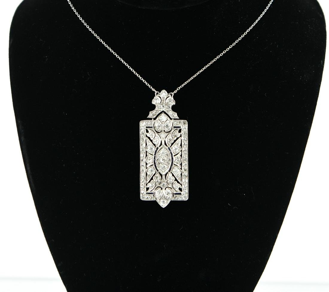 ART DECO DIAMOND, SAPPHIRE & PLATINUM NECKLACE
