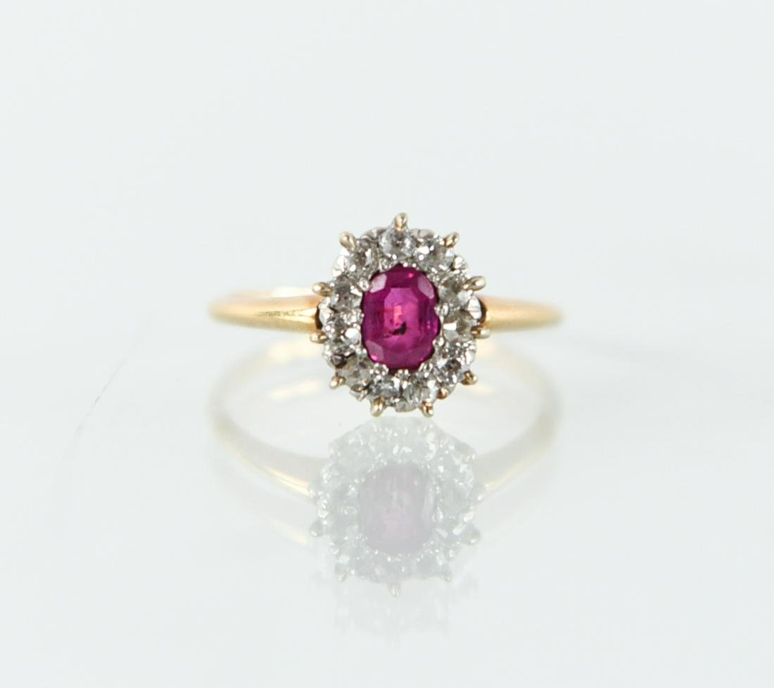 RUBY, GOLD & DIAMOND RING