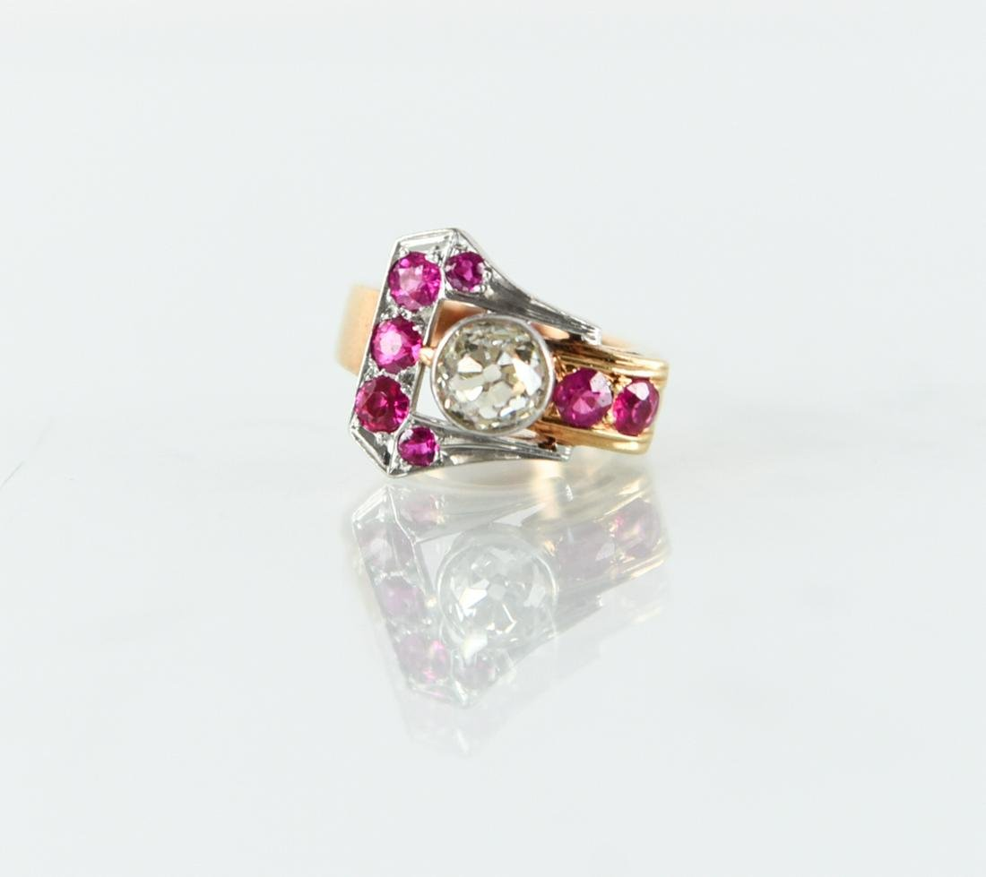 LADIES 14K GOLD, DIAMOND & RUBY BUCKLE RING