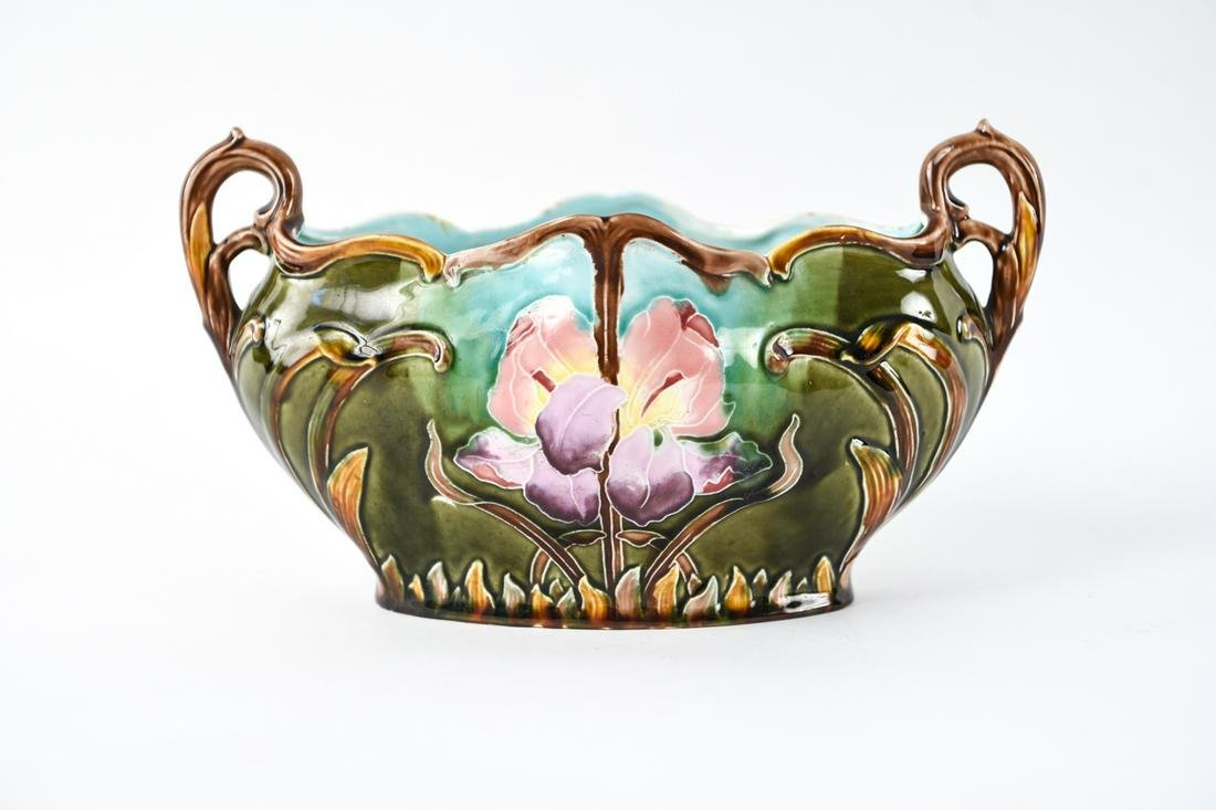 AMERICAN TWO-HANDLE MAJOLICA PLANTER