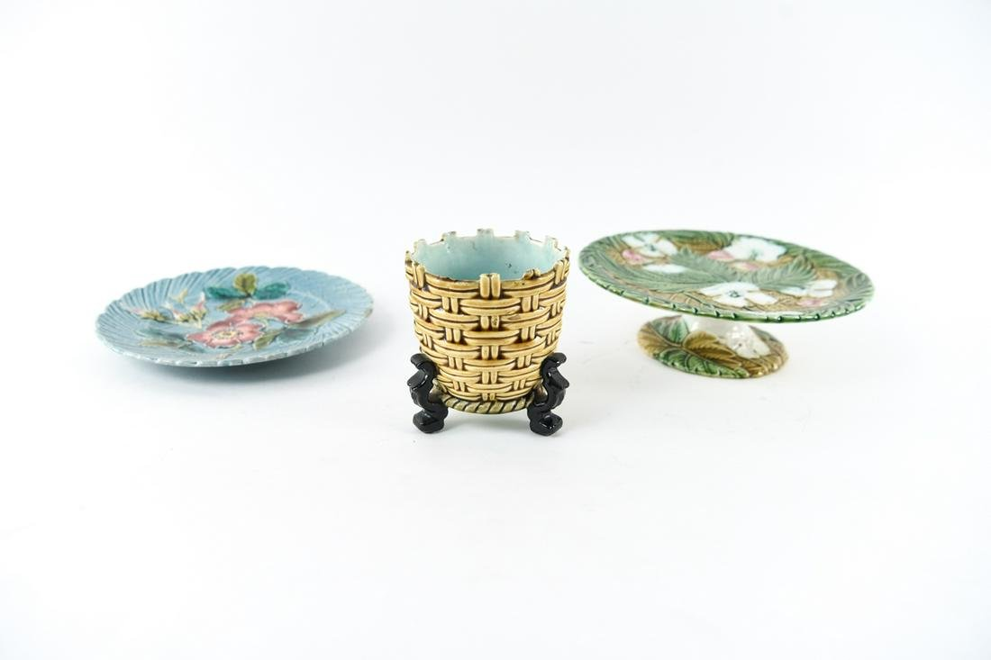 FRENCH MAJOLICA POTTERY GROUPING