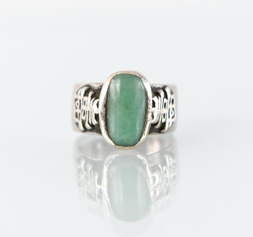 JADE & SILVER CHINESE RING