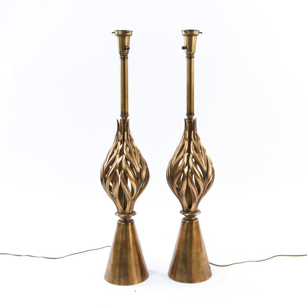 PAIR OF REMBRANDT STYLE GOLD TONE LAMPS