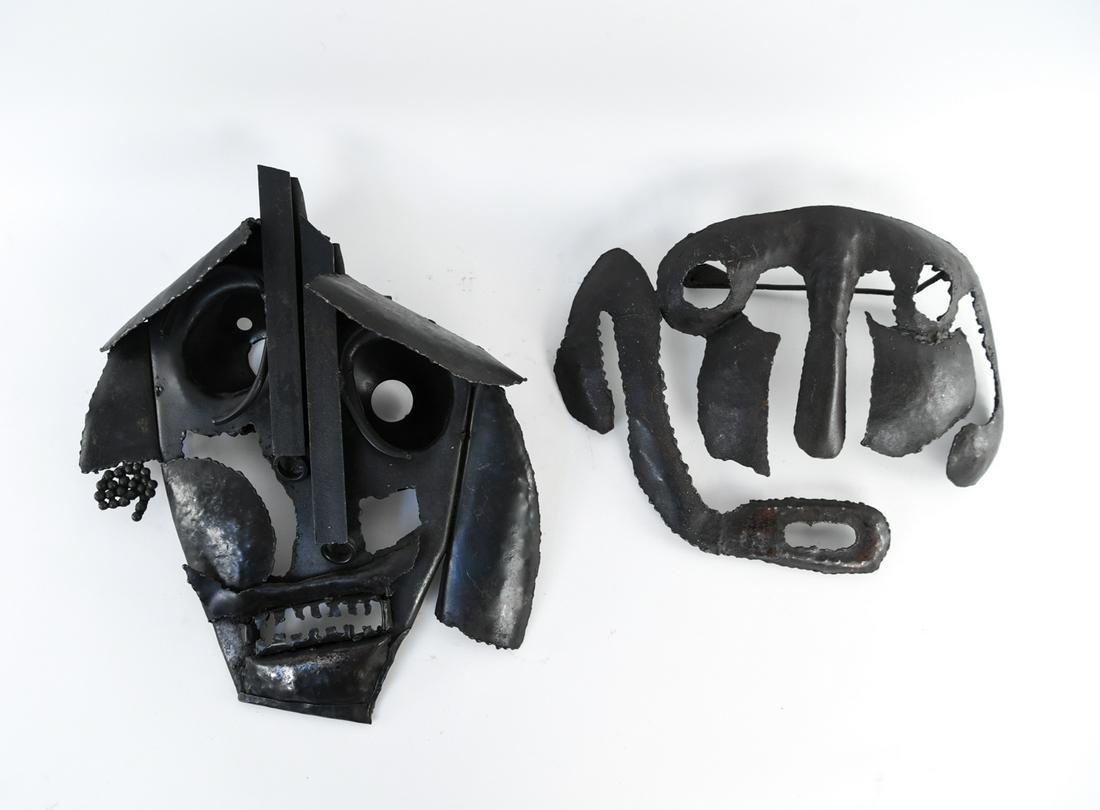 (2) BRUTALIST ABSTRACT IRON FACE SCULPTURES
