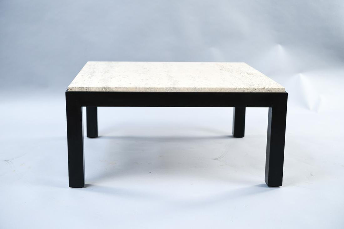 TRAVERTINE MARBLE TOP COFFEE TABLE