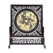 DOUBLE SIDED SILK EMBROIDERY TABLE SCREEN