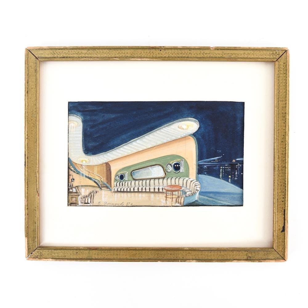 1957 ARCHITECTURAL WATERCOLOR GOUACHE ON PAPER