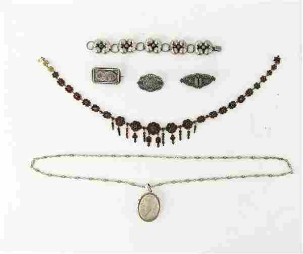 GROUPING OF ANTIQUE STERLING JEWELRY INCL GARNET