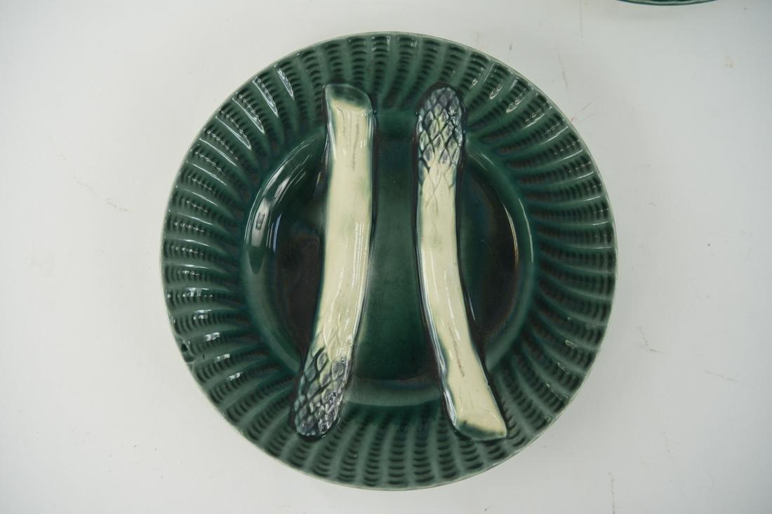 (6) FRENCH MAJOLICA GREEN ASPARAGUS PLATES