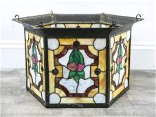 ANTIQUE STAINED LEADED GLASS HANGING LIGHT FIXTURE