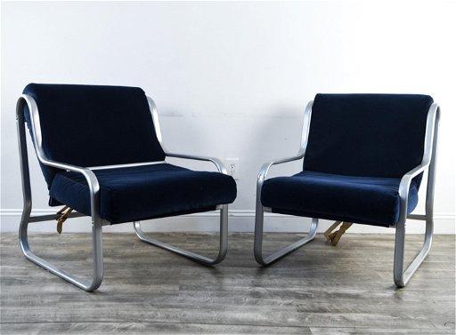 Superb Pair Of Chrome Sling Lounge Chairs Creativecarmelina Interior Chair Design Creativecarmelinacom