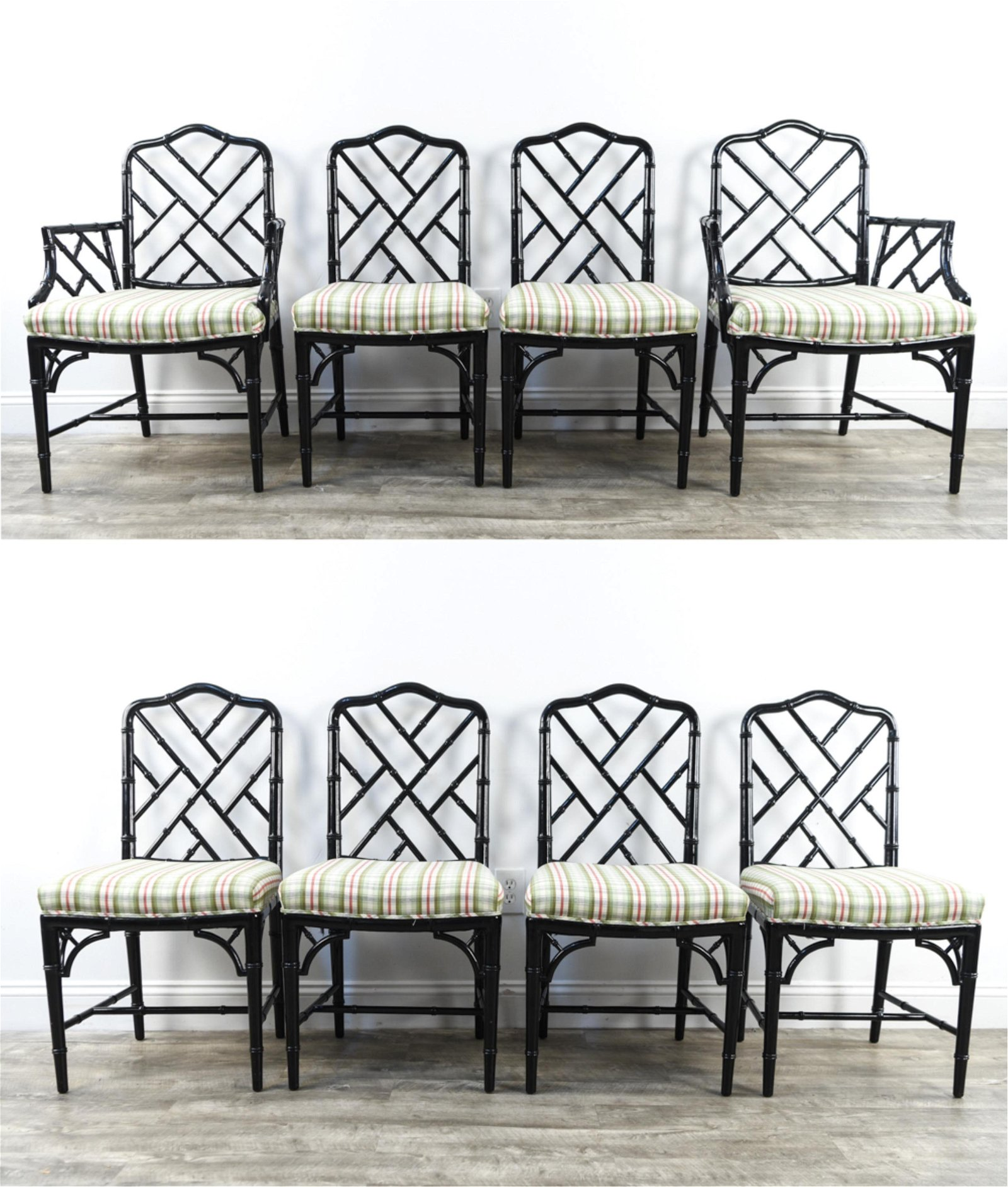 (10) FAUX BAMBOO CHINESE CHIPPENDALE DINING CHAIRS
