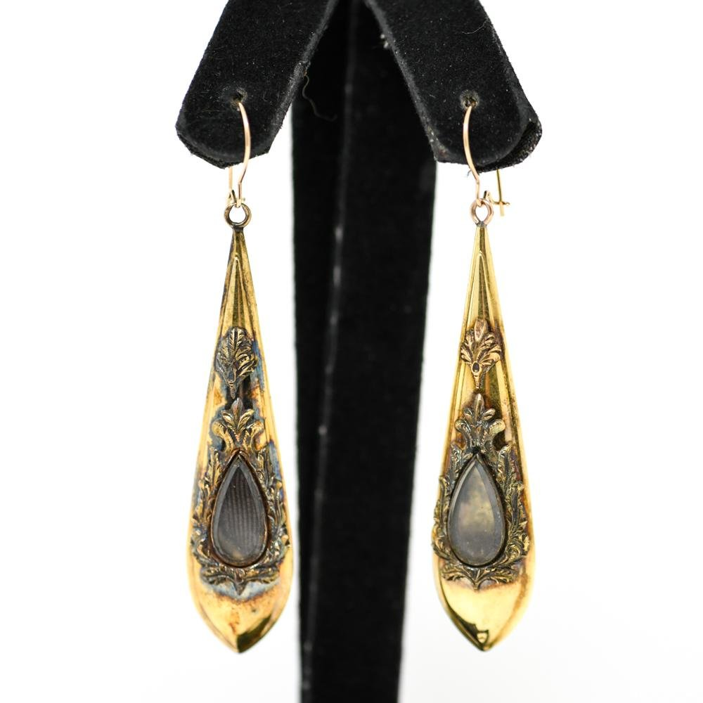 ANTIQUE 14K GOLD MOURNING EARRINGS
