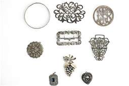 STERLING JEWELRY GROUPING INCL. ANTIQUE