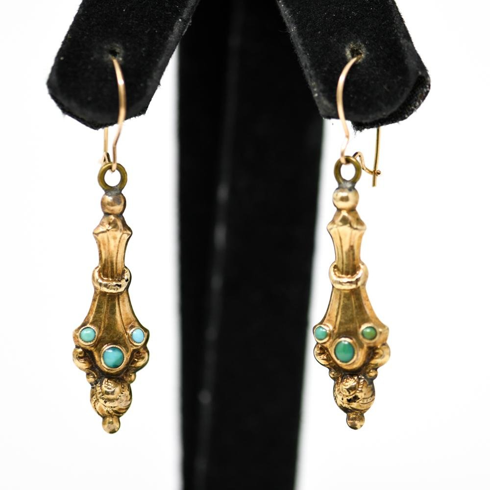 ANTIQUE 14K GOLD & TURQUOISE EARRINGS